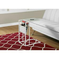 Accent Side Table - White / White Metal With A Magazine Rack