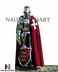 Templar Wearable Medieval Knight Combat Armor Full Suit With Stand 6 Feet 18 G