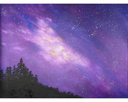 Original Oil Painting Of Fantasy Landscape Of Stars And Space - Trees Silhouette