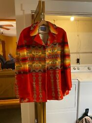 Vintage 1980s Pendleton Wool Blanket Coat Lined Size 44l 100 Made In The Usa