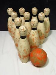Vintage Wooden 7.5andrdquo Ten Pin Bowling Set Game W Ball