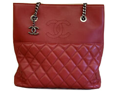 Tote Bag Red Lam Skin Leather Cc Logo Matelasse Silver Chain Strap Charm