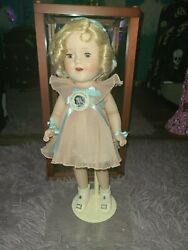 Porclain Shirley Temple Collectors Doll In Original Wooden/glass Case