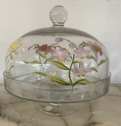 Vintage 10 Diameter Pedestal Cake Plate Glass And Painted Flower Glass Dome Lid