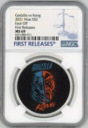 Godzilla Vs Kong Face Off 2021 Niue 1oz 2 Silver Coin Ms69 First Releases Pop 4
