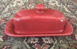 Longaberger Woven Traditions Tomato Red Butter Dish
