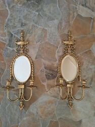 Vintage Brass Pair Wall Sconces With Mirror And Candle Holders