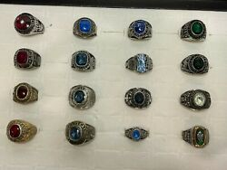 16 Pcs Vintage Mixed Assorted Sports Class Championship Jostens Rings Tray 6