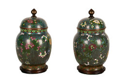 China Fr. 20. Jh Pair Antique Chinese Cloisonne Enamel Lid Containers Vases