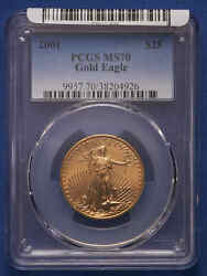 2001 25 American Gold Eagle Pcgs Ms 70