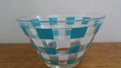 Clear Glass Bowl With Turquoise And White Squares