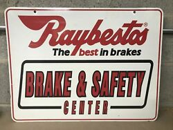Vintage 1994 Raybestos Brake And Safety Center Double Sided Hanging Sign Gas Oil