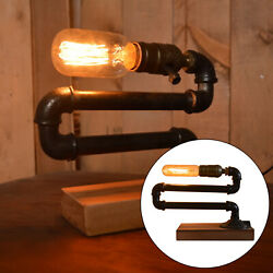 Antique Steampunk Water Pipe Lamp Vintage Wooden Bace Desk Night Light E27