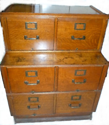 Antique Tiger Oak File Cabinet - Possible Free Delivery - Stackable Six Drawer
