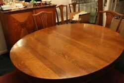 Antique Tiger Oak Oval Dining Table, Carved Lion Feet, With 2 Leaves 86