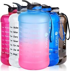 Plastic 1 Gallon Water Bottle Motivational with Time Marker amp; Straw Large Jug $22.55