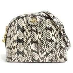 499621 Ofidia Snake Leather Double Small Shoulder Bag Gray Made In _61958