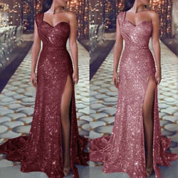 Women Wedding Cocktail Formal Prom Evening Party Split Long Maxi Dress Ball Gown