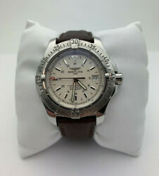Mens Breitling Colt Chronometre Automatic Watch A17380 Brown Leather Band 41mm