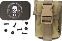 Esee Sheath Accessory Pouch Khaki Nylon Rc5/rc6 Mounting Hardware And Metal Tin