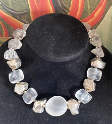 Vintage Sterling Silver Frosted Lucite Beaded Necklace