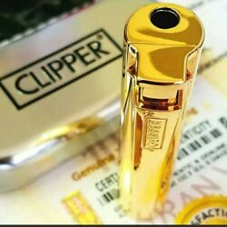 24k Gold Plated Metal Clipper Lighter Electronic Turbo Jet Gas Cigarettes Boxed