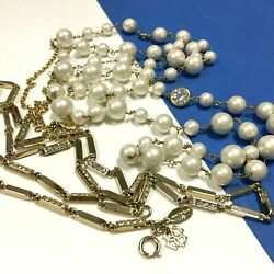 New Ann Taylor Long Pearl And Crystal Necklace Lot Gold Chain Links Station Qq107m