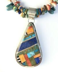 Native American Sterling Silver Indian Daniel Coriz Inlay Turquoise Necklace