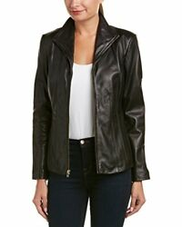 Cole Haan Womens Leather Wing Collared Jacket - Choose Sz/color