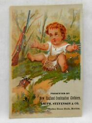 Victorian Trade Card New England Combination Clothiers Meriden Ct Child W/rifle