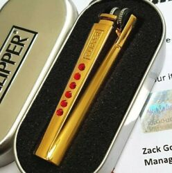 24k Gold Plated Metal Crystal Ruby Red Clipper Lighter Flint Gas Refillable 24ct