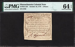 Fr Ma-255 3 Pence Oct. 16 1778 Massachusetts Colonial Note Pmg 64 Epq Rare Note
