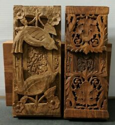 Pair Of Vintage Hand Carved Wood Expandable Book Shelves With Folding Bookends