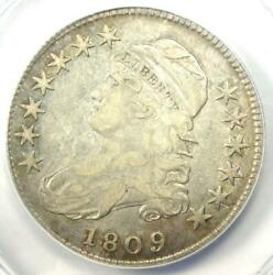 1809 Capped Bust Half Dollar 50c - Certified Anacs Vf25 Details - Rare Date