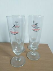 Uefa Champions League Amstel Beer Glass 90s X4