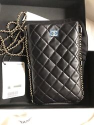 Black Lambskin Quilted Clutch With Chain New With Tag/box /sold Out