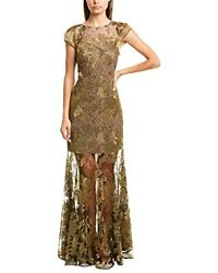 Halston Women's Metallic Embroidered Lace Gown - Choose Sz/color