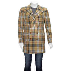 Vintage Check Wool Double-breasted Jacket In Antique Yellow, Brand Size