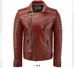 Red Leather Biker Jacket For Men Quilted Fashion Motorcycle Jackets For Menand039s