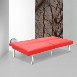Futon Single Sofa Bed Sleeper Convertible Leather Daybed Recliner Adjustable Red