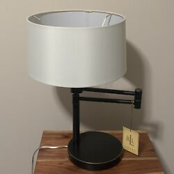 Set Of 2 Signature Swing Arm Table Lamp Weighted Base Black Gold