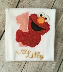 Embroidered 1st,2nd, And 3rd Birthday Elmo Girl T-shirt/bodysuit, Customised.