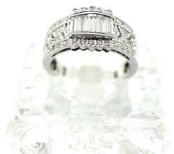 14k White Gold And Diamond Antique Style Ring. Size 6.75