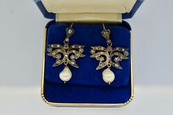 Antique Victorian Diamond And Natural Pearl Earrings