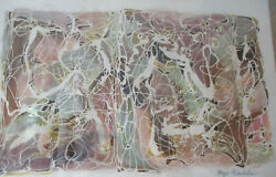 Midcentury Modern Modernist Abstract Batik Fabric Painting Signed Faye Franklin