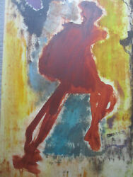 Midcentury Modern Abstract Mcm Gouache Watercolor Painting Signed Faye Franklin