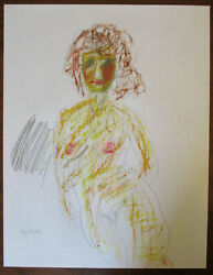 Midcentury Mcm Abstract Sketch Painting Nude Figure Chicago Artist Faye Franklin