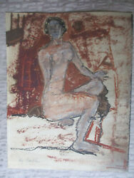 Midcentury Modern Abstract Nude Gouache Watercolor Painting Signed Faye Franklin