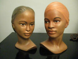 Pr Vintage Holland Mold Hand Painted African American Woman Lady Bust Chalkware