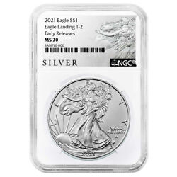 2021 1 Type 2 American Silver Eagle Ngc Ms70 Als Er Label